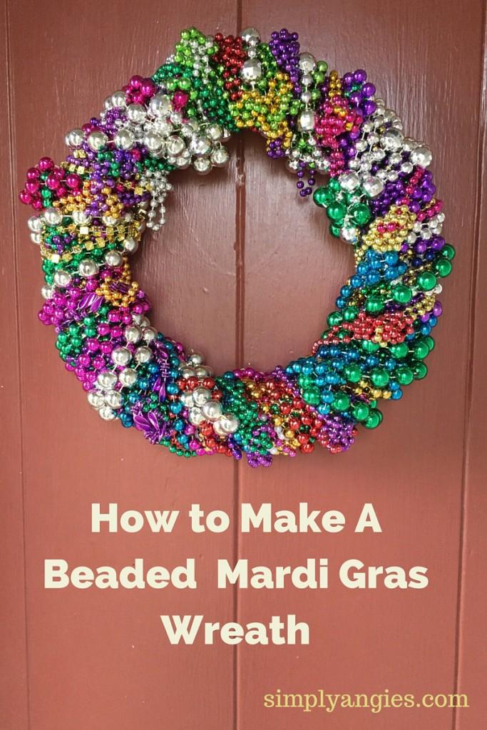 Mardi Gras Beaded Wreath Pin