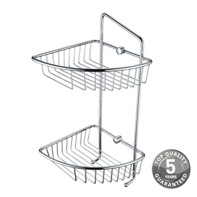 Simply Bathroom Wall Fixed Wire Double Basket In Chrome