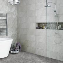 Diana Wave Grey Ceramic Wall Bathroom Tiles 248x498