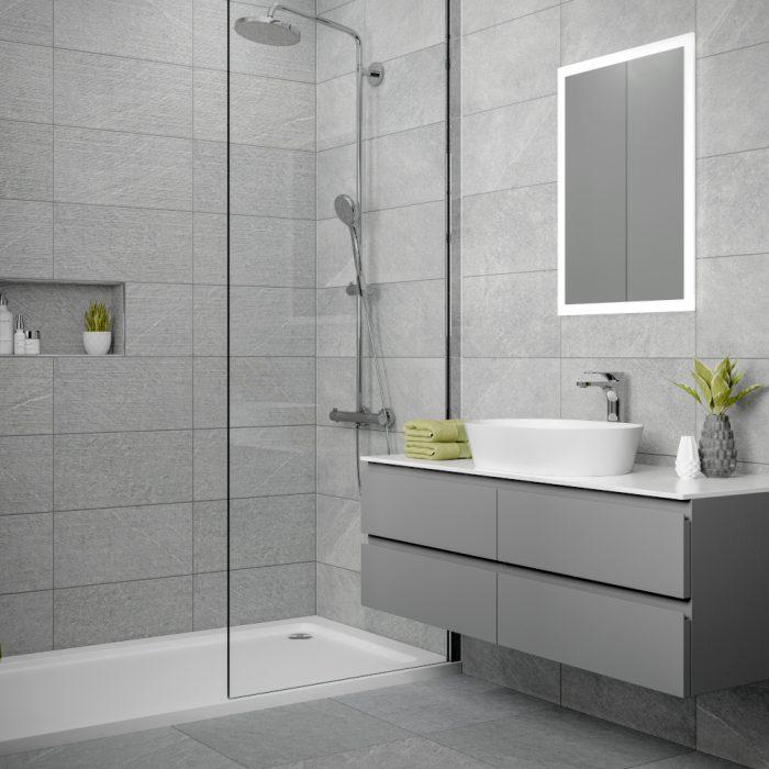 Dominican Grey Wall Bathroom Tiles 250 X 500mm Per Box