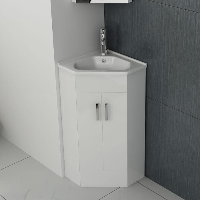 snow corner vanity unit basin 425mm in white