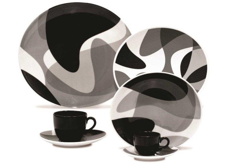 black white dish set