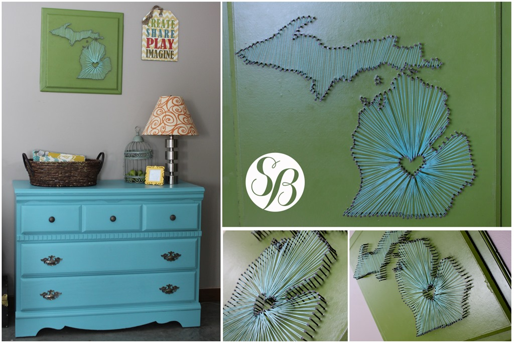 Michigan nail string art and the dresser reveal simply bloom mitten art collage freerunsca Images