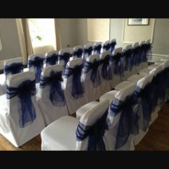 Chair Cover Hire Dunfermline Cars Camping Wedding Covers And Planning Dundee Perth Fife Navy Single Bow On White At The Queens Hotel