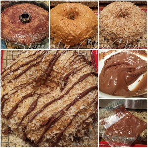 Assemble and frosting samoa cake steps