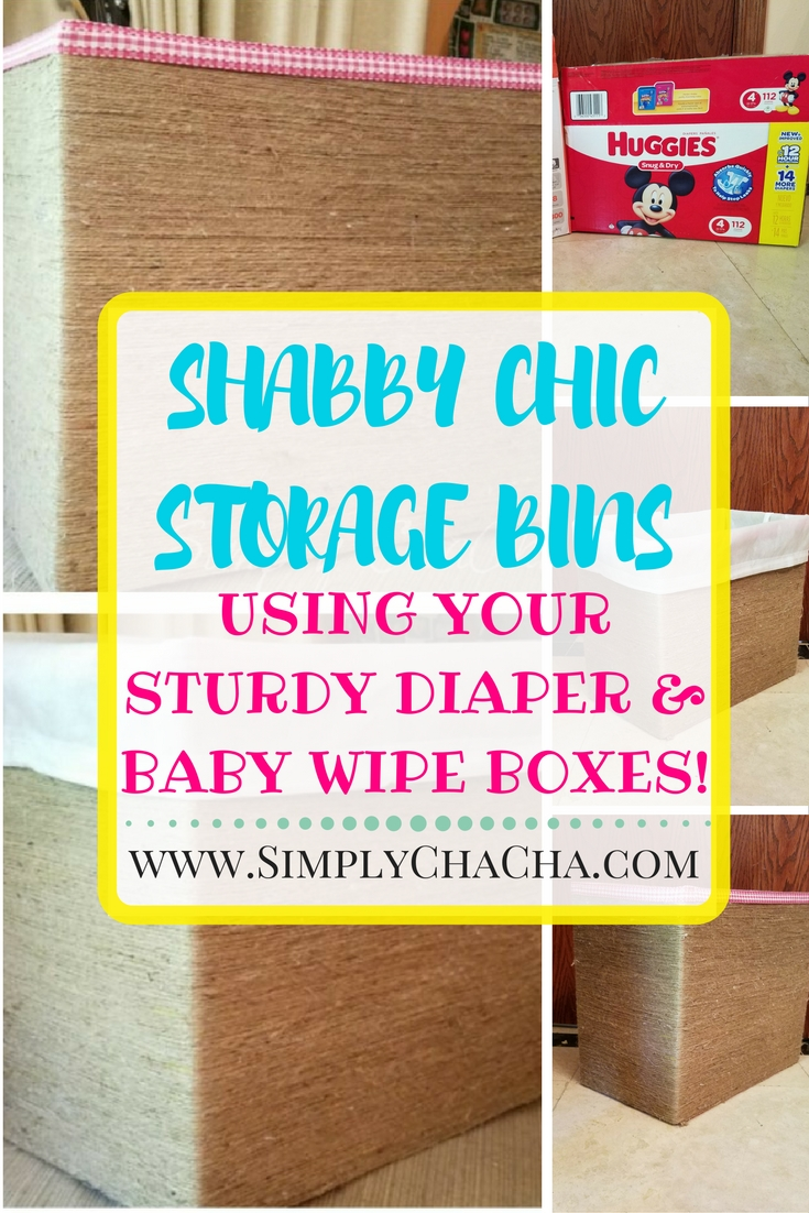 DIY shabby chic storage bins made out of sturdy diaper and wipe boxes