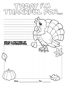 Activity page- Turkey Thanksgiving coloring page for kids & toddlers