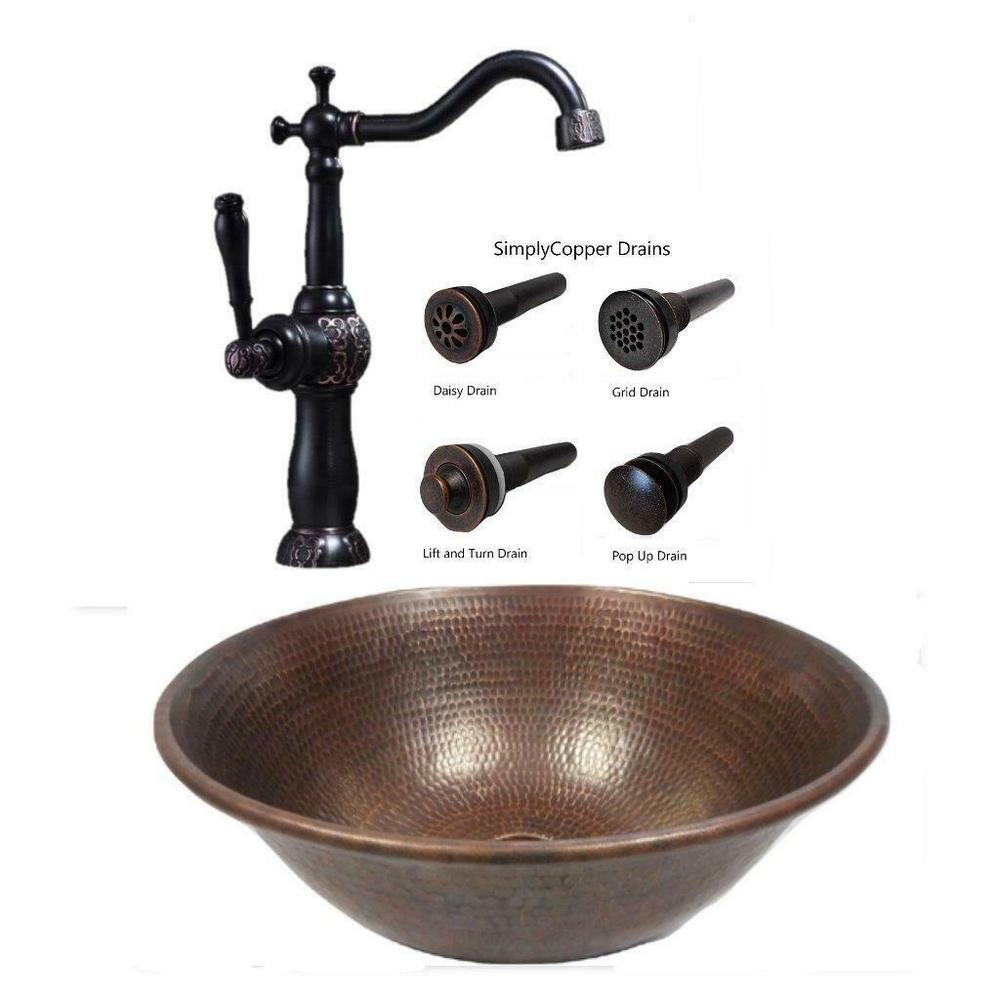 14 round copper vessel bath sink sedona bronze 13 orb claymore faucet drain