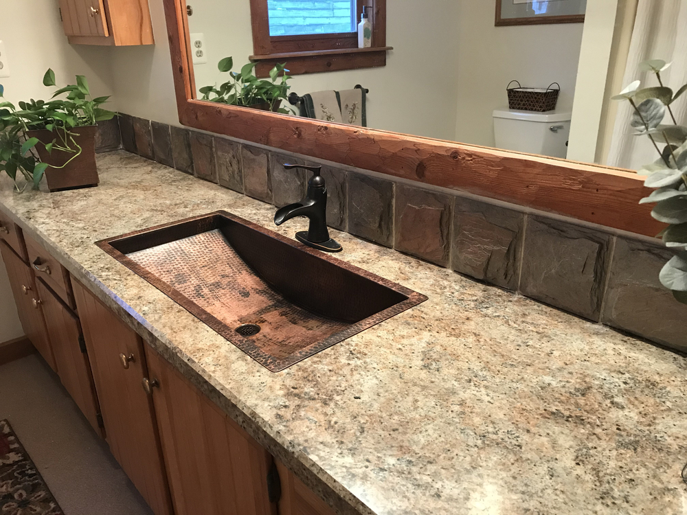 30 rectangular copper trough bathroom sink natural fire