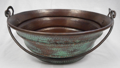 15 Round Copper Vessel Bucket Sink with Green Patina on