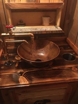 14 round copper vessel bathroom sink original fired copper