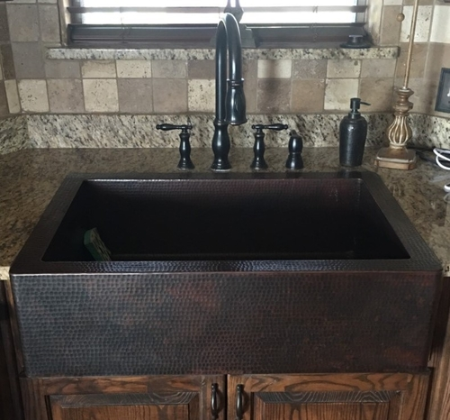 33 copper kitchen farmhouse sink 9 apron single well dark coffee finish