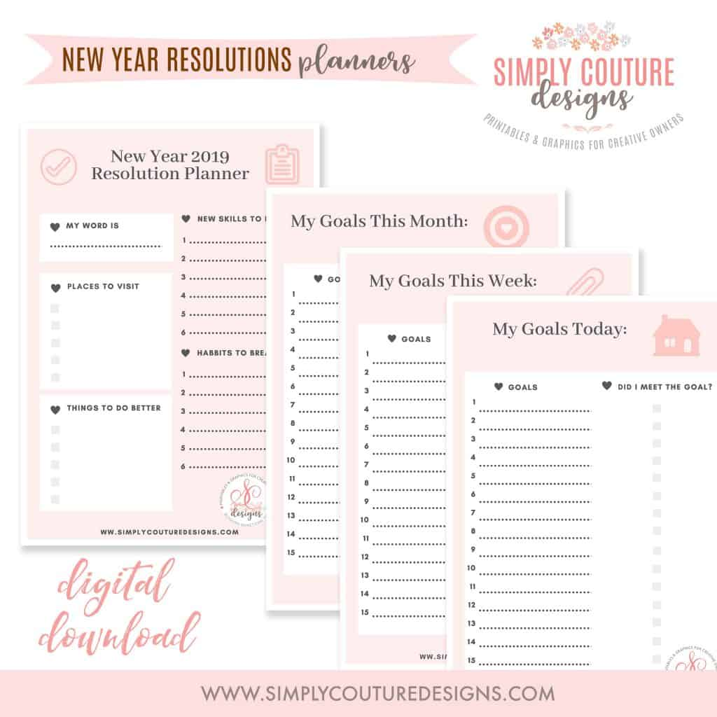 Free New Year S Resolutions Printable