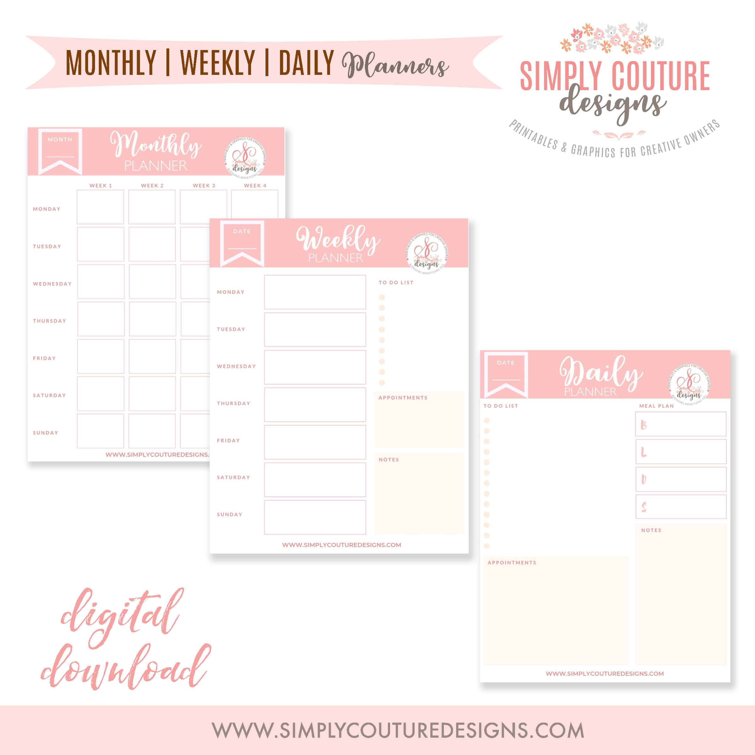 Monthly, Weekly and Daily Planner Printables, Digital Download