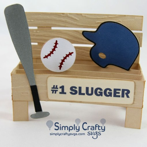 Baseball Bench Box Card SVG File