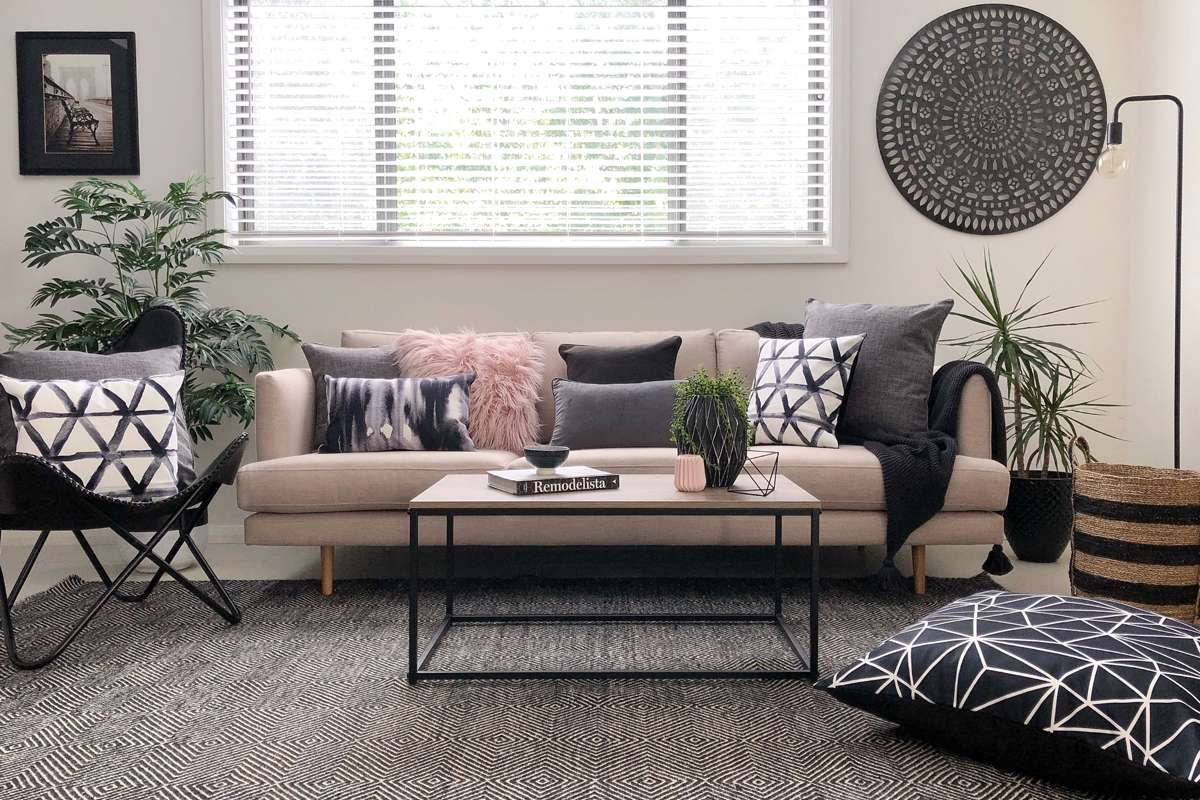 cushions living room decorating ideas leather couches aughie collection of setting with pink and grey