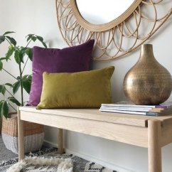 Cushions Living Room Design In Nigeria Looking For Online Australia Simply A Wooden Table With Two Velvet Purple And Mustard There Is Mirror