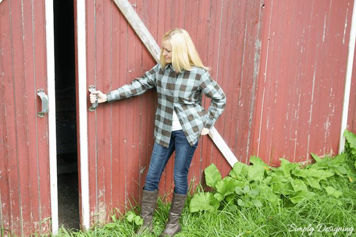 Duluth Shirt Jac opening barn door