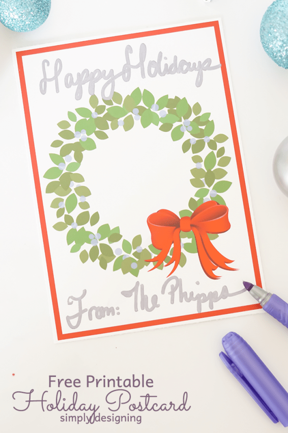 Free Printable Holiday Postcard