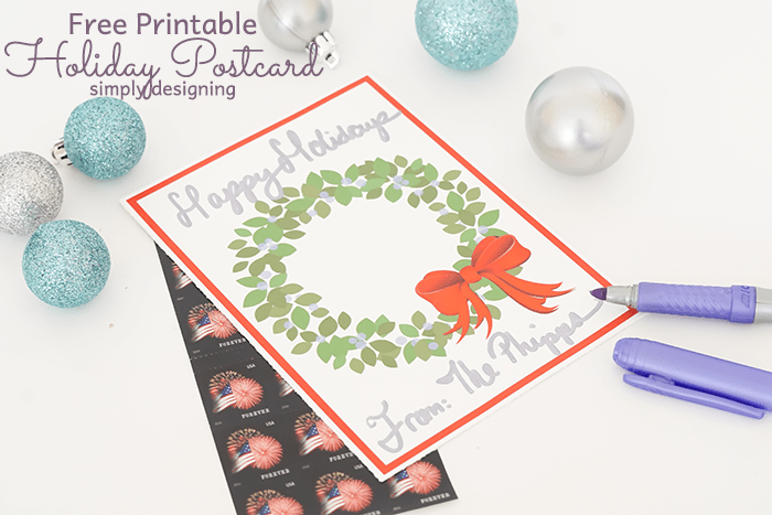 Printable Holiday Postcard