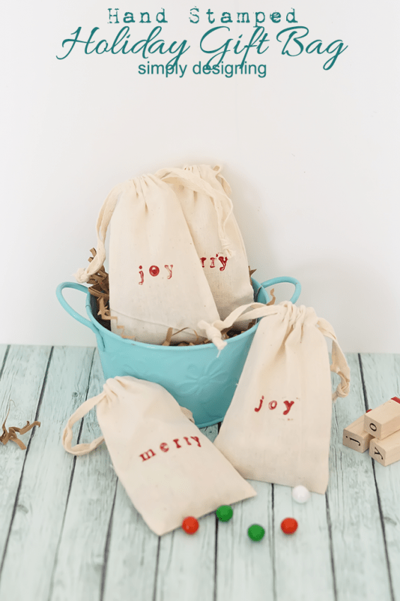 Hand Stamped Holiday Gift Bag