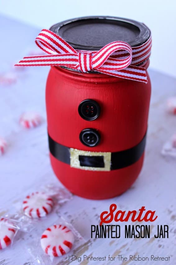 Santa Painted Mason Jar 1
