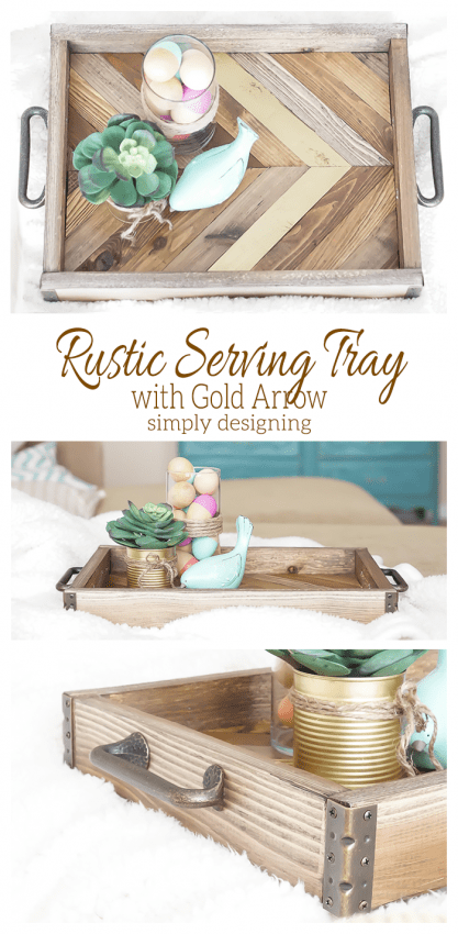 Rustic Serving Tray with Gold Arrow