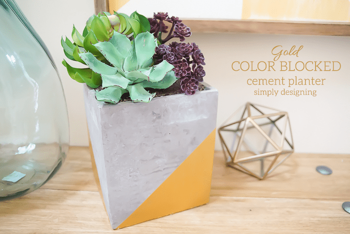 Gold Colorblocked Cement Planter