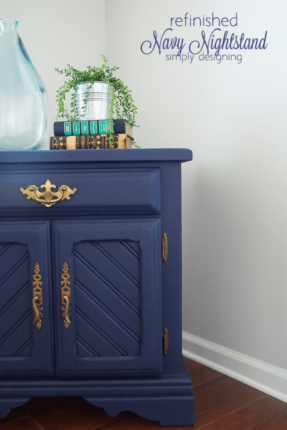 Navy Refinished Nightstand - great transformation of a thrift store find