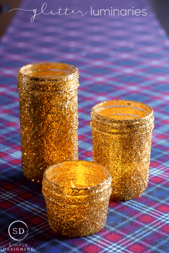 DIY Gold Glitter Mason Jar Luminaries - this fun and simple DIY is so sparkly and perfect for the holidays