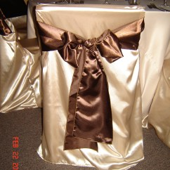 Brown Chair Covers Black Leather Desk Simply Elegant Weddings Cover Rentals Wedding On White Sash Champagne