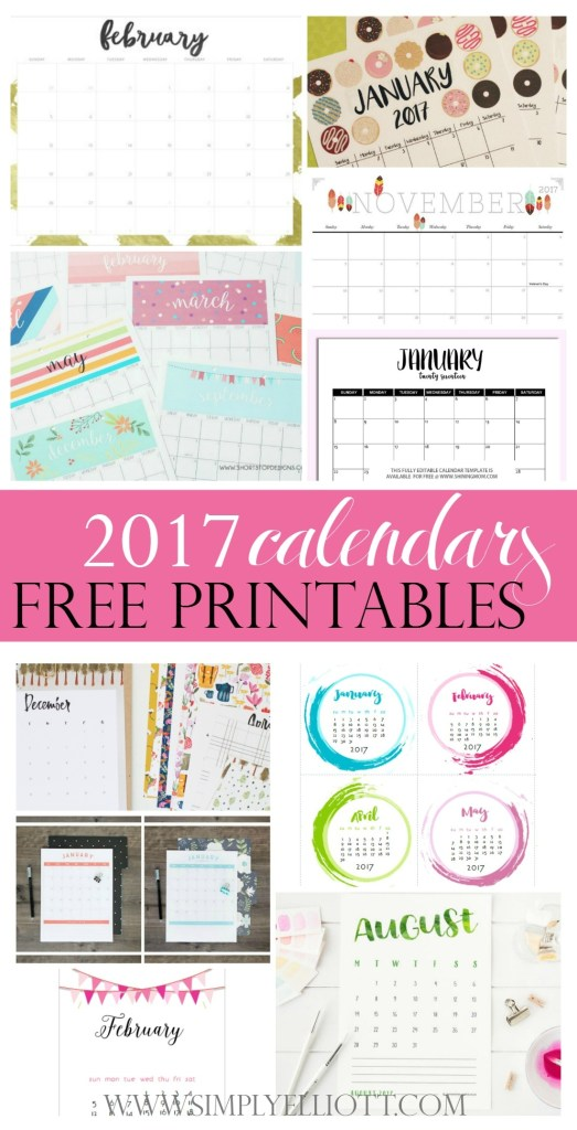 10 Adorable FREE Printable Calendars to ring in the New Year   2017