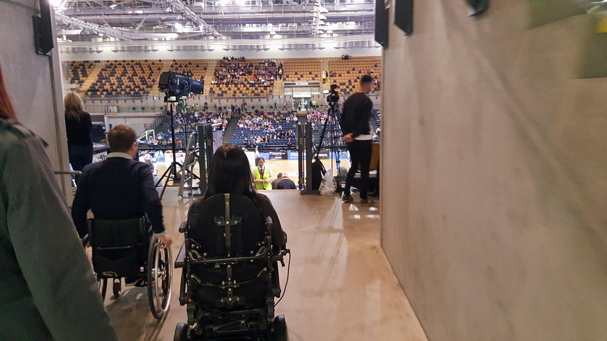 wheelchair emirates fnatic gaming chair glasgow rocks basketball match at arena accessible