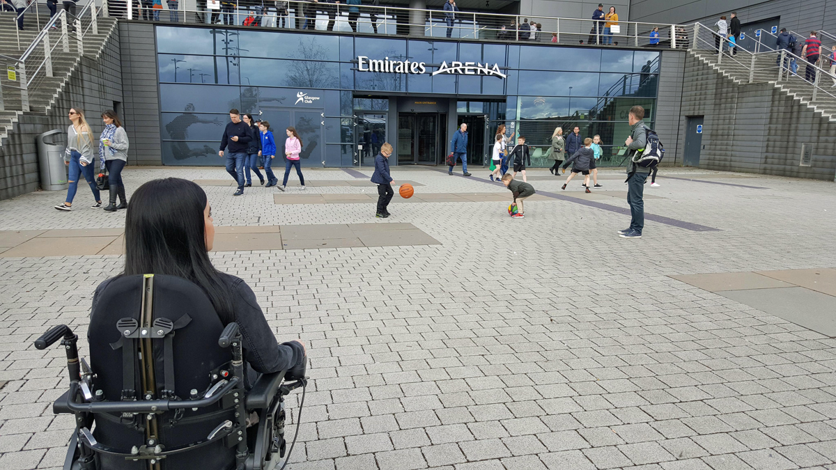 wheelchair emirates dining chairs fabric slam dunk for accessibility at arena glasgow rocks access