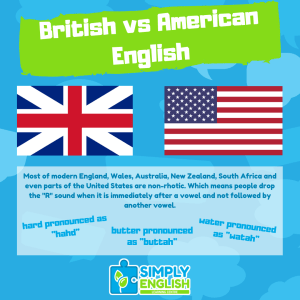 Simply English - British Vs American English - Non-rhotic - 1080x1080