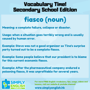 Simply English Learning Centre - Vocabulary Time - Here we go over the word fiasco.