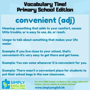 Simply English Learning Centre - Vocabulary Time - Here we go over the word convenient.