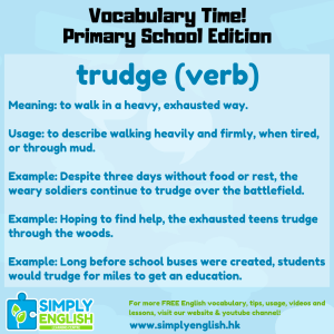 Simply English Learning Centre - Vocabulary Time - Here we go over the word trudge.