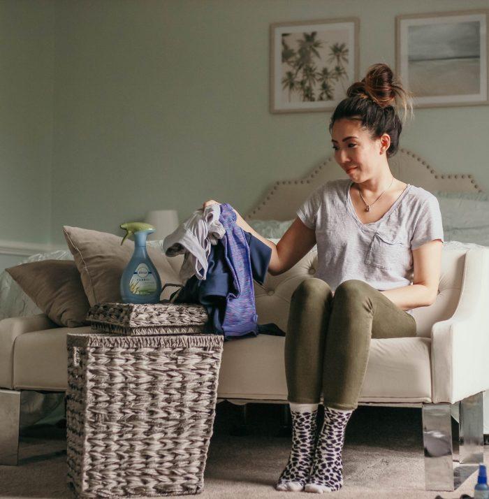Laundry Basket and Frebreze on the blog