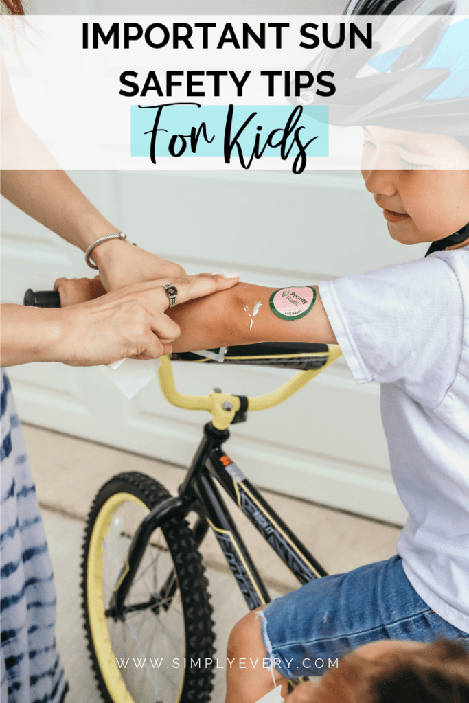 Sun Safety Tips for Kids - Sunscreen stickers and 'important sun safety tips for kids' text