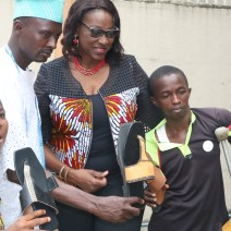 Mrs Fayo Williams with the shoe making trainees
