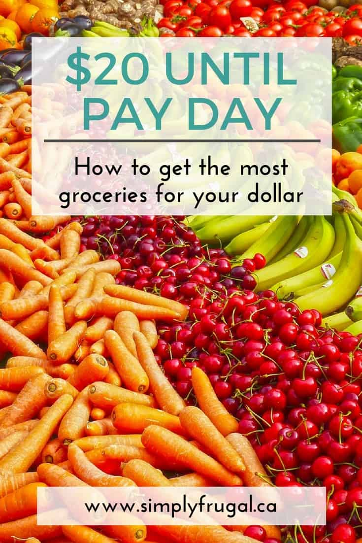 $20 Until Pay Day: How to Get the Most Groceries for Your Dollar