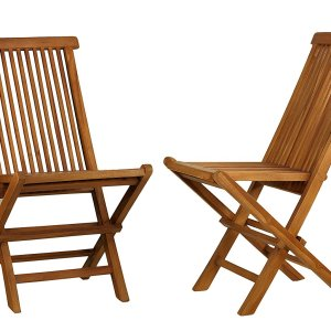 Bare Decor Vega Golden Teak Wood Outdoor Folding Chair (Set of 2) (2 Chairs)