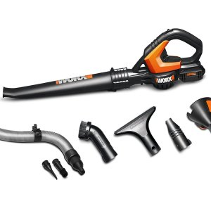 WORX 32-Volt AIR Multi-Purpose Blower/Sweeper/Cleaner with 120 MPH / 80 CFM Output, 4 lb. Weight, with 8 Attachments – WG575.1