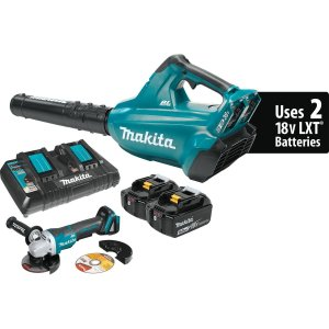 Makita XBU02PTX1 18V X2 (36V) LXT Lithium-Ion Cordless Blower Kit & Brushless Angle Grinder (5.0 Ah)