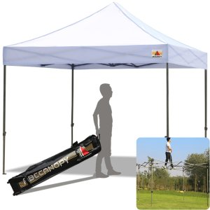 Ez Pop-Up Canopy Tent 10x10 (30+ Colors), ABCCANOPY Kingkong-Series 10 X 10 ft. Commercial & Outdoor Sports Instant Shelter Canopy Kit, Bonus Carrying Bag, White