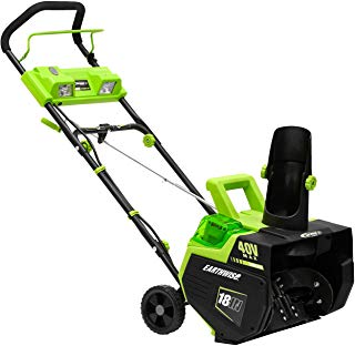 Earthwise SN74018 Cordless Electric 40-Volt 4Ah Brushless Motor, 18-Inch Snow Thrower (Battery and Charger Included)