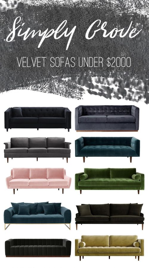 Velvet Sofas Under $2000 via Simply Grove