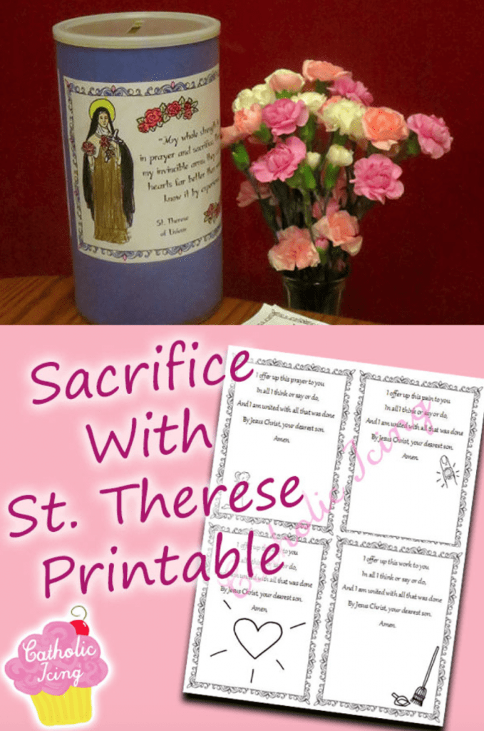 St.Therese Sacrifice jar and printables with flowers in a vase