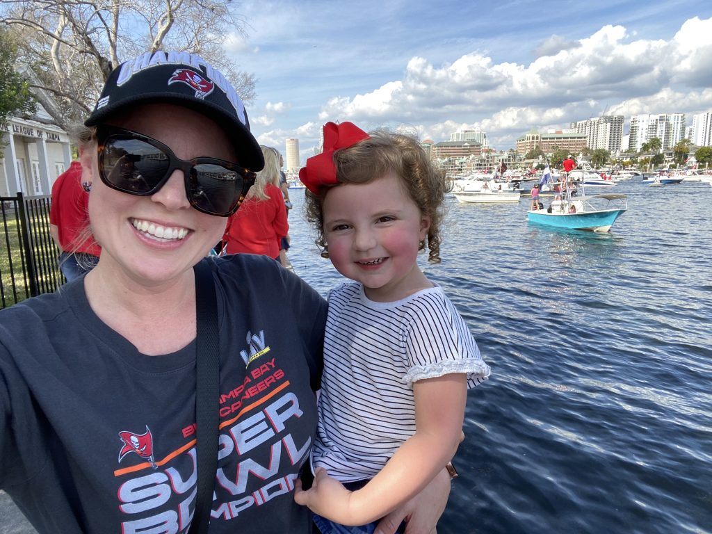Holley and Caroline watching the Bucs boat parade
